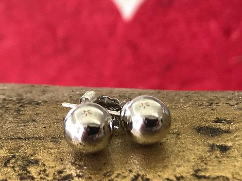 14k White gold ball earring