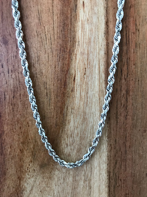 14k White gold Solid Rope Chain.