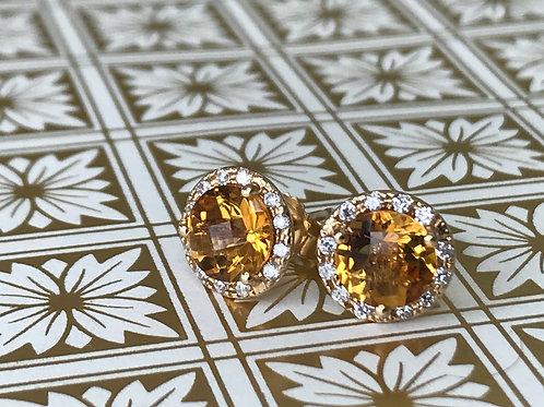 Citrine and Diamond halo earrings