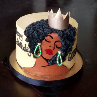 Afro Queen Birthday Cake