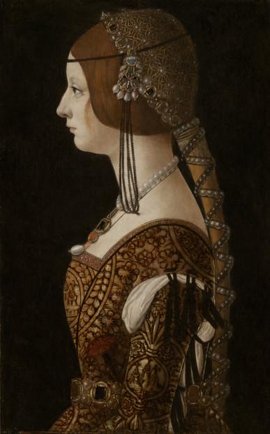 """Fig. 35. Ambrogio de Predis, """"Portrait of Bianca Maria Sforza"""", c.1493."""