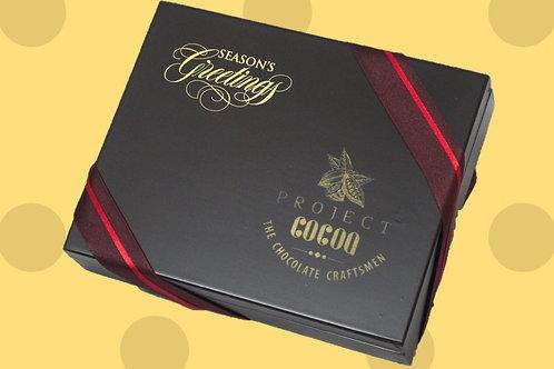Belgian Chocolates in Classic Wooden Box - 12 pc (Seasons Greetings)