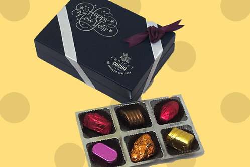 Belgian Chocolates in Classic Wooden Box - 6 pc (Happy New Year)
