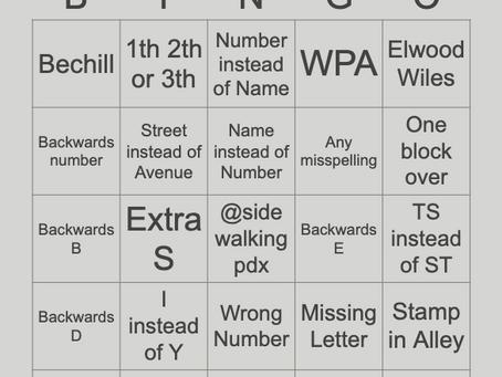 Portland Sidewalk Stamp Bingo