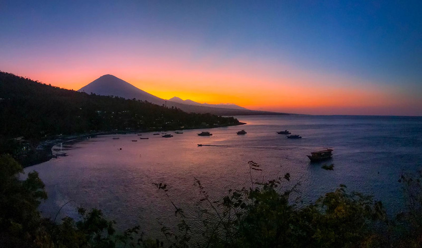 Sunset over Mount Agung Volcano