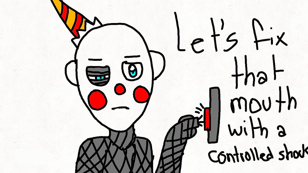 a beat up clown pushing the control button