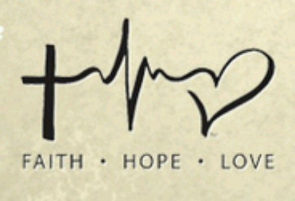a cross for faith, a heart beat for hope and heart for love