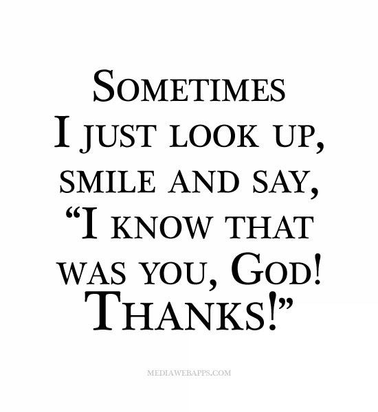 I know that was you God, thanks