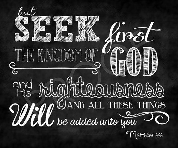 seek God first