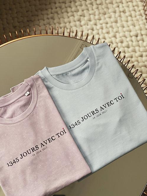 """Tshirt """"avec toi"""" personnalisable unisexe (+ Couleurs)"""