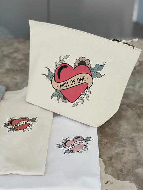Trousse coeur tattoo personnalisable