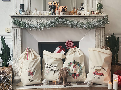 Sac à cadeaux Noël 2020 personnalisable