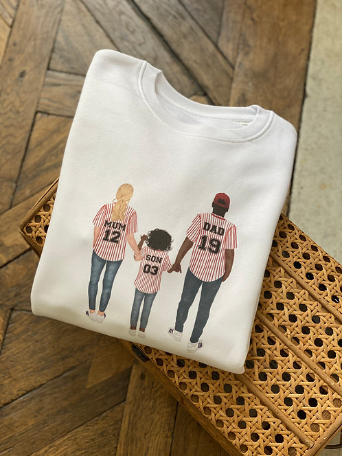 Sweat col rond Baseball family personnalisable