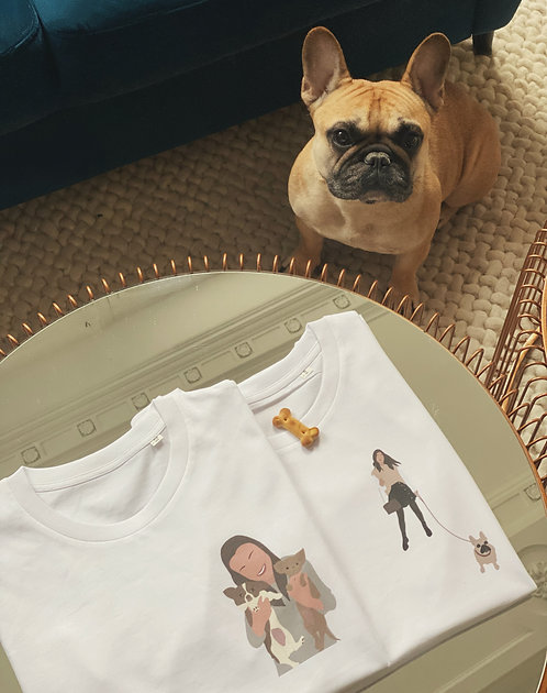 """T-shirt  """"mon animal et moi""""  personnalisé unisexe (+couleurs)"""