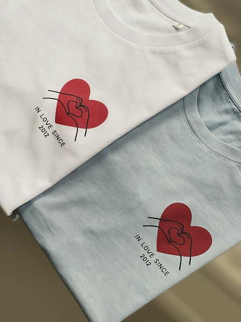 Tshirt Mains coeur personnalisable unisexe (+ Couleurs)