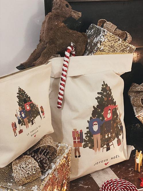 Sac à cadeaux Christmas family personnalisable