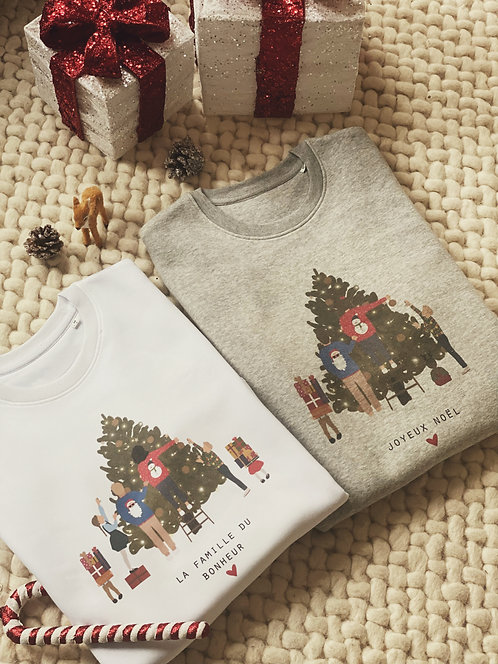 Sweat col rond Christmas family personnalisable unisexe (+couleurs)