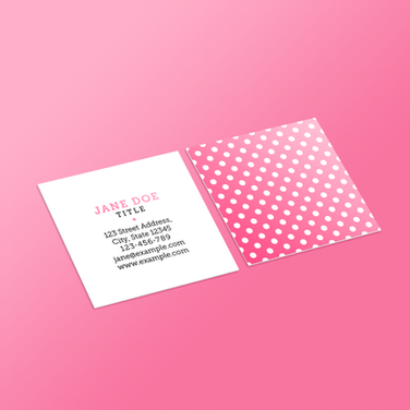 Square Business Card - Pink Polka