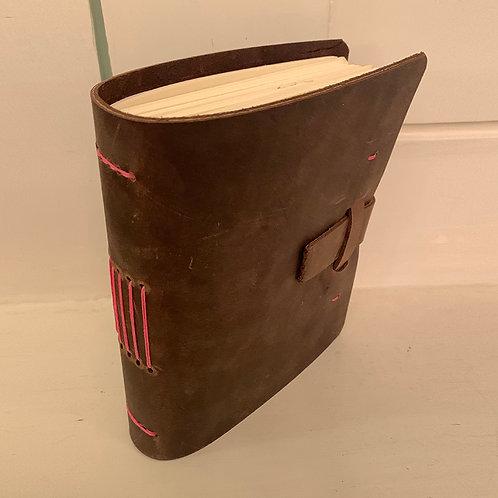 Dark Leather Journal w/Pink Stitching by Meghan Khalsa