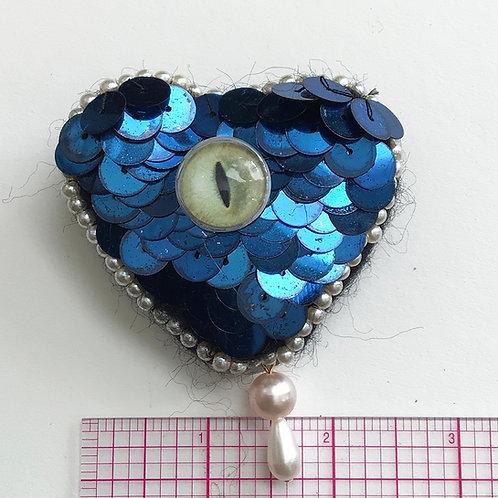 Medium cat eye heart pin by HeartyHarHar