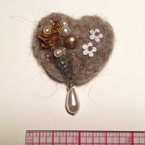 Small grey heart pin by HeartyHarHar