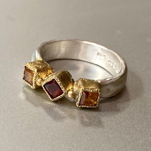 Madeira Citrine 3 stone ring by Chuck Nash