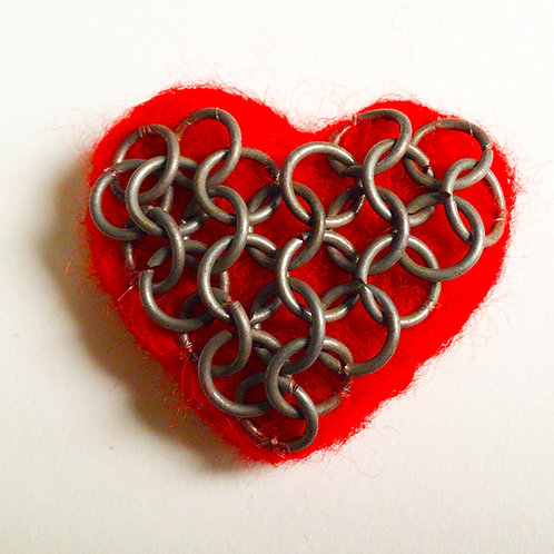 Chain Mail Heart pin by HeartyHarHar