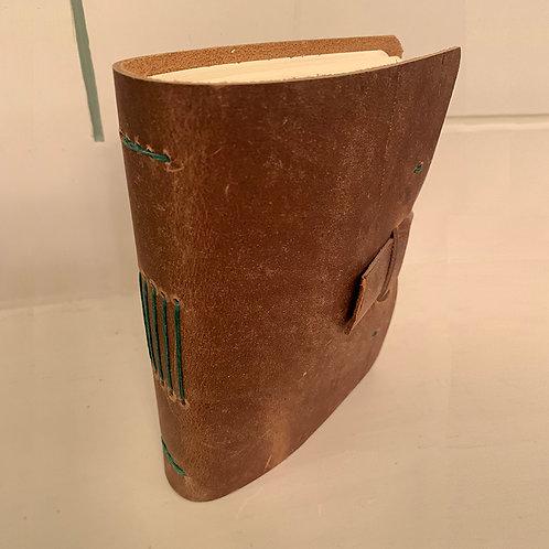 Light Brown Leather Journal w/Green Stitching by Meghan Khalsa