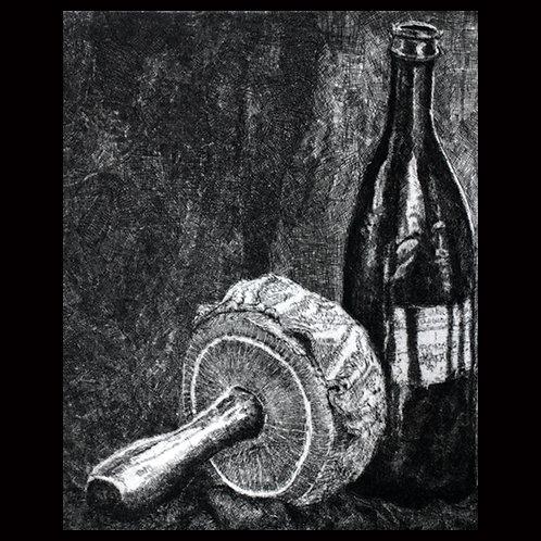 "Wine Bottle ""Still Life 2"" by Onah Indigo"