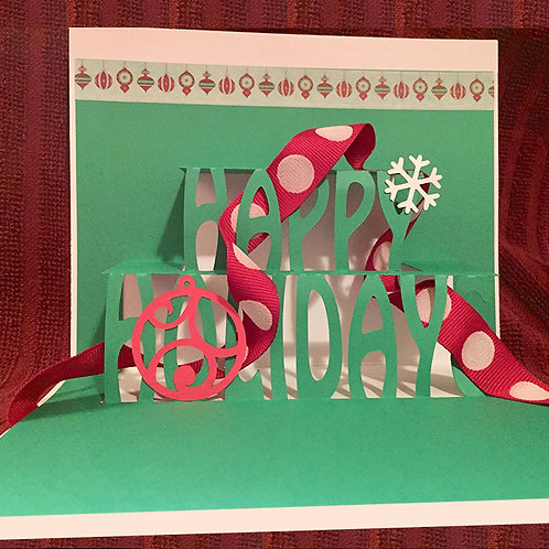 4-Pack of Pop Up Holiday Greeting Cards-White and Green by Denise Woodward