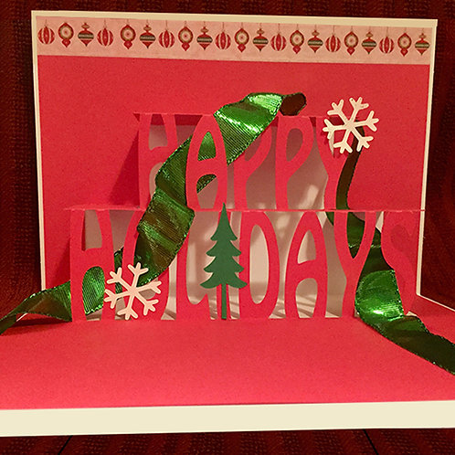 4-Pack of Pop Up Holiday Greeting Cards-White and Red by Denise Woodward