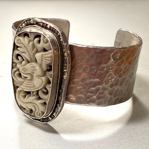 Tibetan stone silver cuff by Chuck Nash