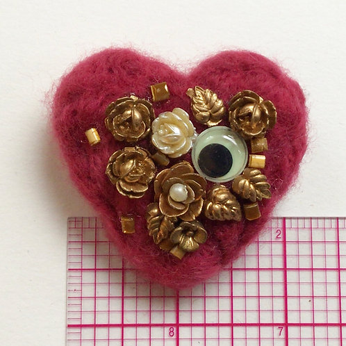 Medium Rose Heart Pin by HeartyHarHar