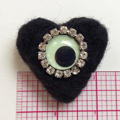 Medium Black Felt Heart Pin by HeartyHarHar