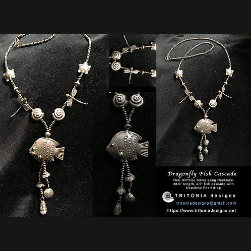 Dragonfly Fish Cascade Necklace by Tritonia Designs