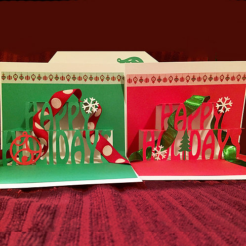 4-Pack of Pop Up Holiday Greeting Cards-Red & White & Green by D Woodward
