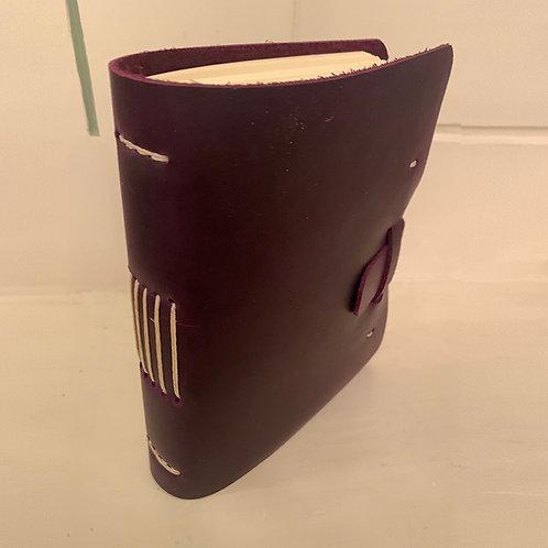 Dark Purple Leather Journal w/Natural Stitching by Meghan Khalsa