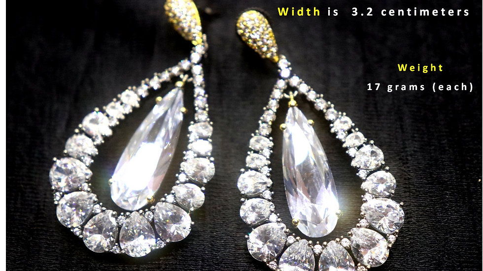 Awesome American Diamond Danglers with warranty