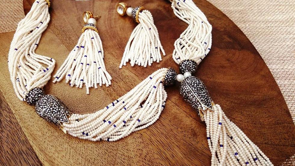 Buy this beautiful precious beads + American Diamond Necklace set