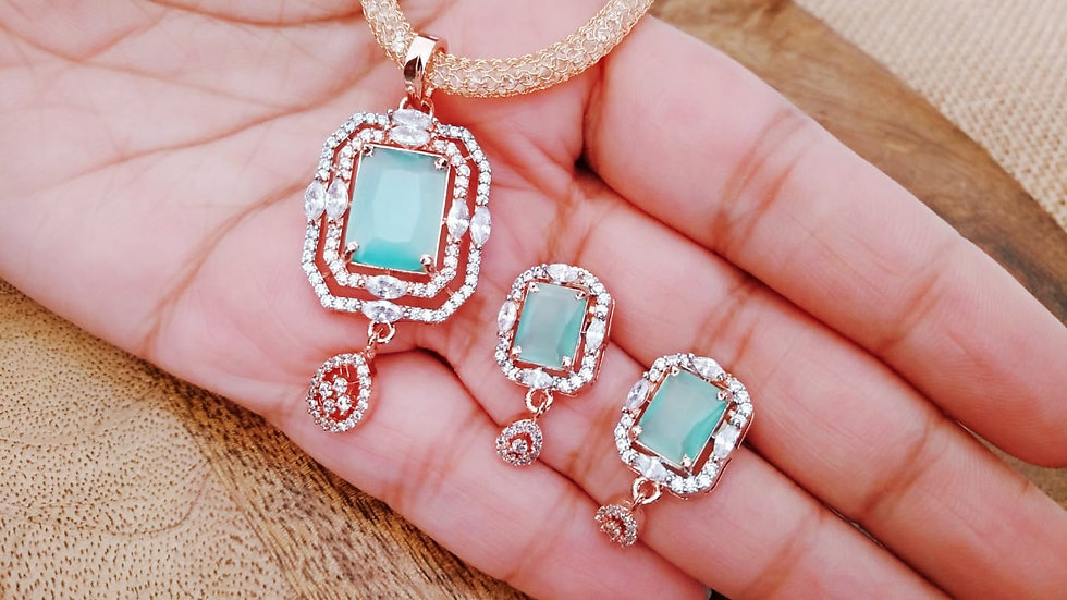 Elegant American Diamond Pendant Set