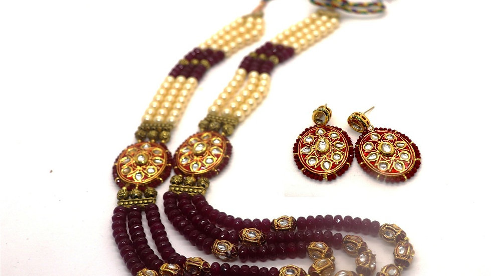 Meenakari worked Necklace set studded with precious stones ,Kundan Necklaces