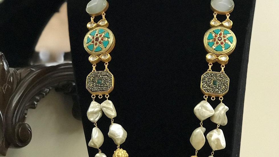 Contemporary Handmade Necklace in Natural Baroque Pearls & Monalisa Stones