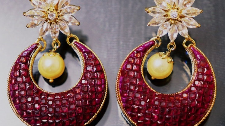 Buy this beautiful Ruby Stone Earrings with a year warranty Length is 4.6 centim
