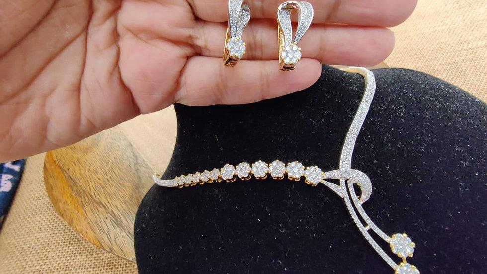 Buy this Pure Cubic Zircon(American Diamond) Necklace setwith warranty