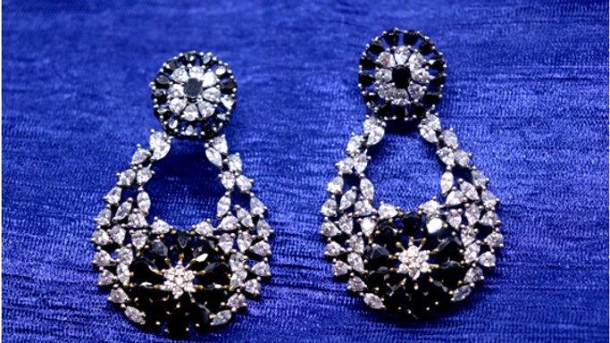 Black American Diamond earring/Dangler with an year warranty