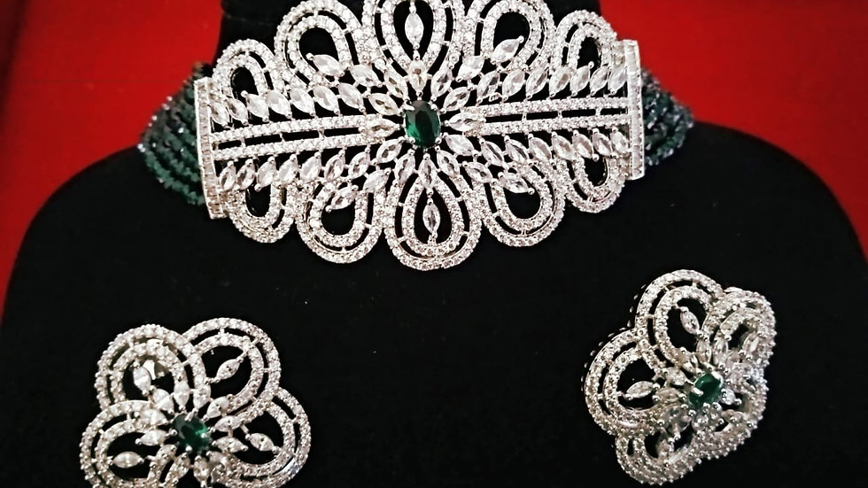Green Coloured American Diamond Choker Necklace set with warranty
