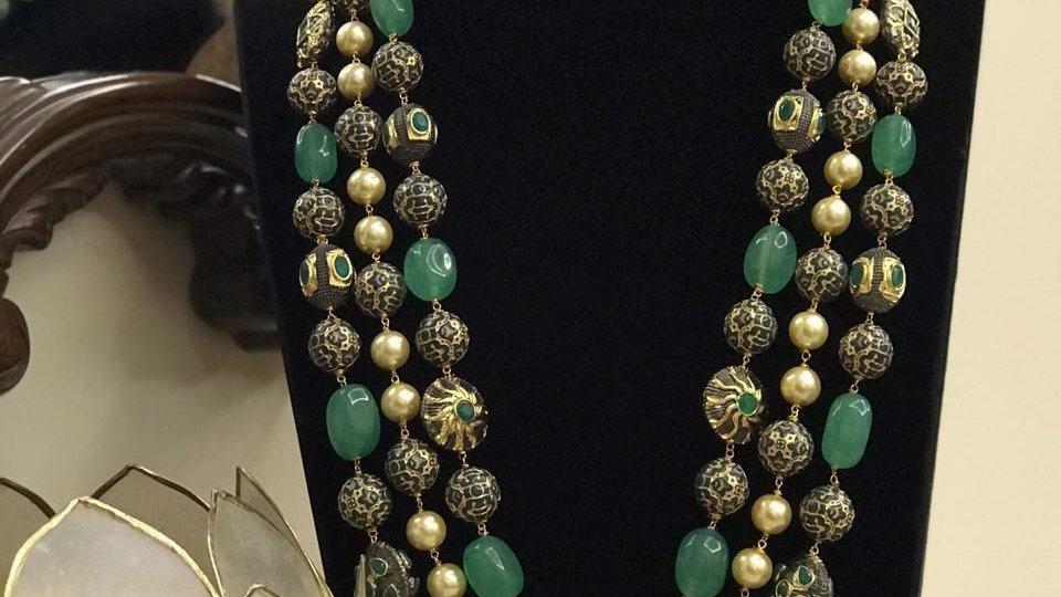 Ruby &Emerald Studded Stone 3 Layered Long Mala Set