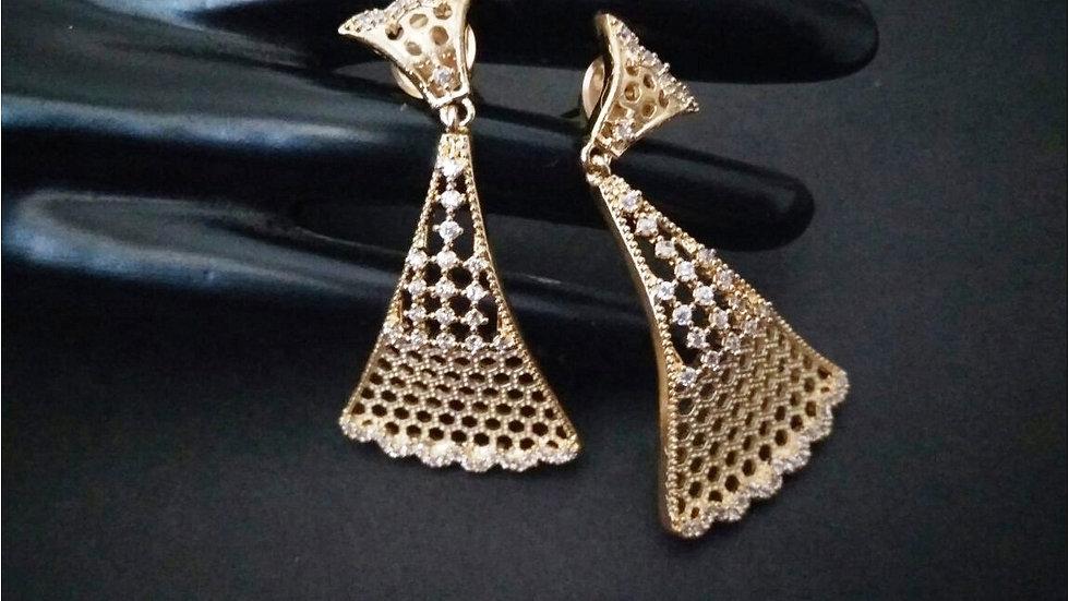 American Diamond Jhumki with semi precious stone