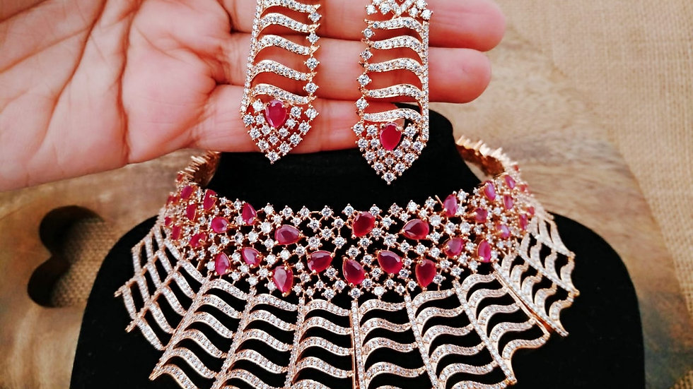 Beautiful Red coloured American Diamond Stone Necklace set