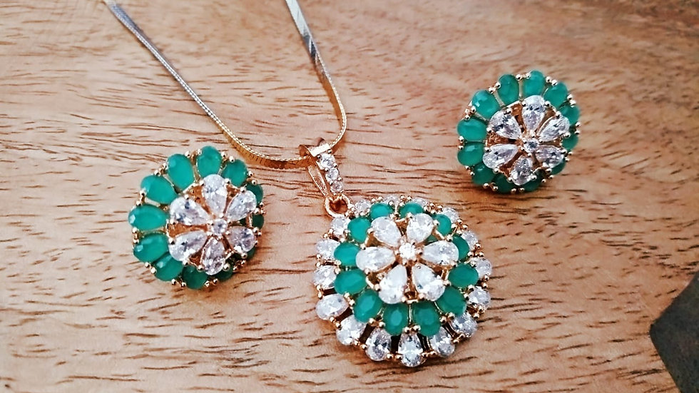 Elegant and beautiful American Diamond Pendant set with warranty